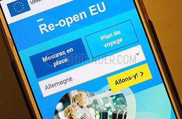 Deutschland  Bremen - die offzielle app Re-open EU informiert ueber alle aktuellen Corona-Bestimmungen und funktioniert mit maschinellen Uebersetzungen