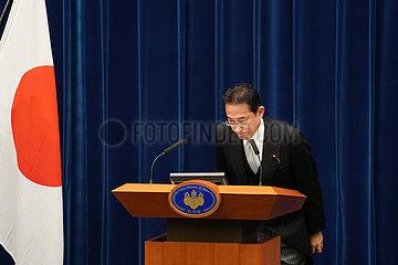Japan-Tokyo-Fumio Kishida-Press-Konferenz
