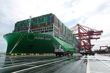 Sri Lanka-Colombo Port-Container-Schiff-Behälter-EVER-ACE-Ankunft