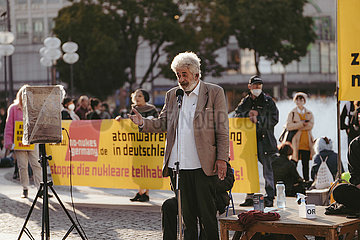Protest-Aktion gegen die Atomkriegsübung der Bundeswehr am 09.10.21 in München