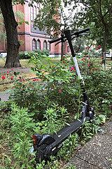 Berlin  Deutschland  E-Roller steht in einer Parkanlage in einem Blumenbeet