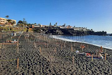 Los Gigantes  Spanien  Urlauber halten sich in Zeiten der Coronapandemie in markierten Strandabschnitten auf