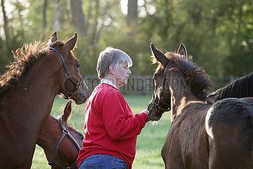 Gestuet Itlingen  Pferdewirtin schaut auf einer Weide nach Absetzerfohlen