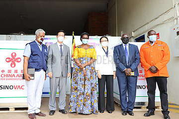 Uganda-Entebbe-Covid-19-chinesische Impfstoff-Spendenzeremonie