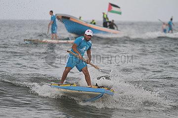 MIDEAST-GAZA CITY-ROWING-CHAMPIONSHIP