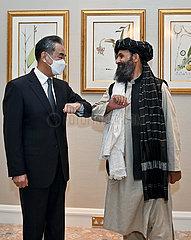 Katar-Doha-China-Wang Yi-Afghan Taliban-agierender stellvertretender PM-Meeting