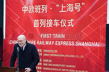 Deutschland-Hamburg-China-Europe-Güterzug-Ankunft